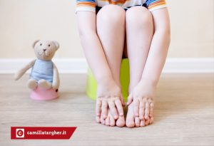 the idea of training the child to the potty with a toy bear, which also sits on a toy potty